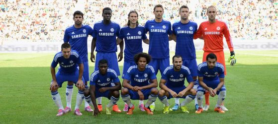 Team line up for friendly
