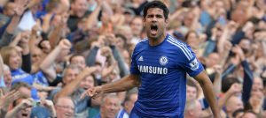 Diego Costa scores against Leicester City