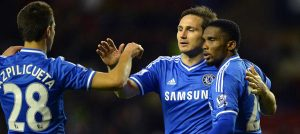 Lampard celebrates scoring against Sunderland