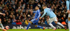Salah in action against Manchester City