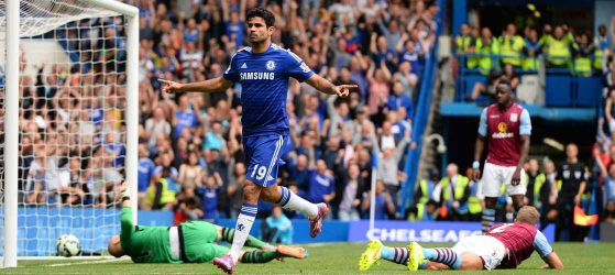 Costa scores against Aston Villa