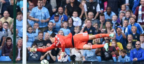 Courtois in action against Manchester City