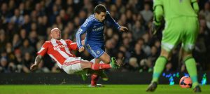 Eden Hazard in action against Stoke City