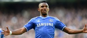 Etoo scores against Arsenal