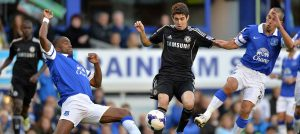 Oscar in action against Everton