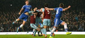 Gary Cahill in action against West Ham United