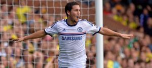 Eden Hazard celebrates against Norwich City